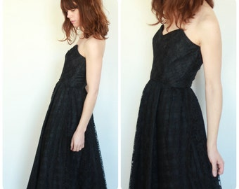Black Lace Strapless 1980's Evening Dress UK 10