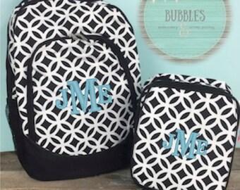 Monogrammed Black Sadie Print Backpack and Lunchbag Set