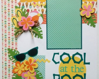 Pool scrapbook layout - Swimming scrapbook layout - At the pool layout - kid page- Scrapbook premade page - Swimming layout - Swim scrapbook