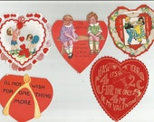 5 Vintage Valentine Cards Heart Shaped, Traded in School Valentine Cards, Used Valentine Cards,Children's Valentine Cards, Vintage Ephemera