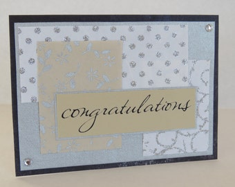Silver Glittered Congratulations Christian Card With Scripture
