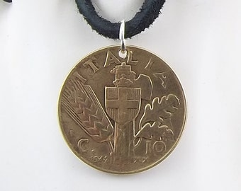 Italian Coin Necklace, 10 Centesimi, Coin Pendant, Leather Cord, Mens Necklace, Womens Necklace, 1942