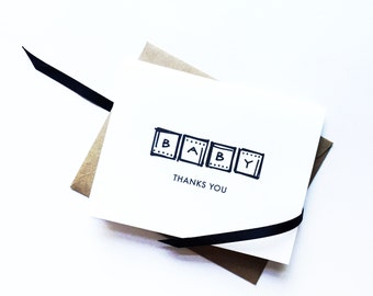 Modern + Minimalist Unisex Baby Thank You Notes, Black and White, matching shower invitations