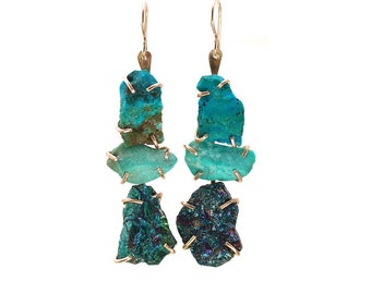 Large Ladder Earrings/One of a Kind/OOAK/Raw Gemstones/Turquoise