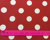 CLEARANCE SALE large red white polka dots  yardage