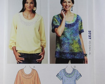 "Kwik Sew 3737, Misses' Tops Pattern, Sewing Pattern, Pullover Tops Sewing Pattern, Misses' Size XS, S, M, L and Xl, Bust 31"" to 45"", Uncut"
