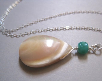 Mother of Pearl Necklace, Sterling Silver, Teardrop Necklace, Beach Necklace, Modern Stone Necklace
