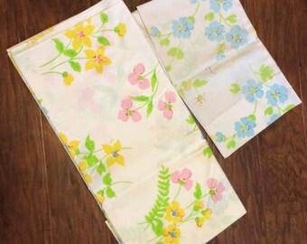 Floral Twin Bedding Retro Vintage Flat Bed Sheet Pillowcase White