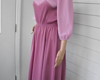 Vintage 70s Pink Pleated Dress Secretary 1970s Retro Sheer Spring S M