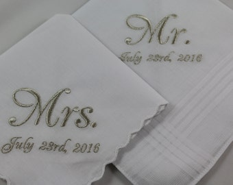 Set of 2 - Embroidered Handkerchiefs - Wedding Gift - Mr & Mrs - Simply Sweet Hankies