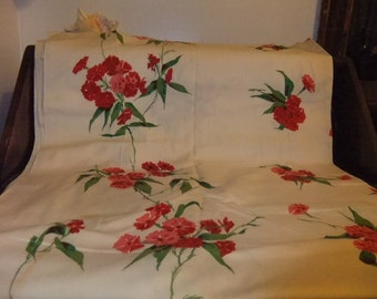 Vintage Fabric With Red /Pink Flowers