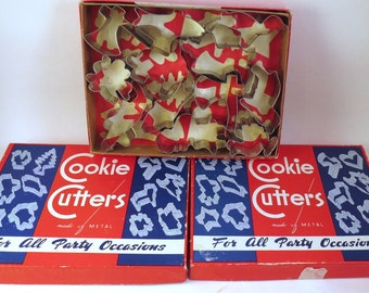 3 Boxes 36 Vintage Metal Cookie Cutters in Box All Occasions For All Party