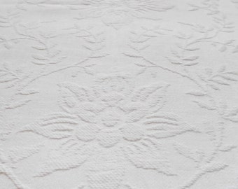 Antique Bedspread Matelasse Coverlet Bright White Classic
