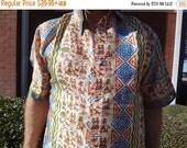 VALENTINES SALE Men's Handmade Woven Sari Silk Button Down Pocket Shirt - Multiple Sizes - Native Village - Hopi G741