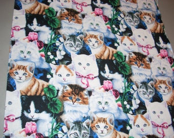 Real Cats with flowers and ribbons -  Cotton Fabric  - 15 inches wide and sold by the yard