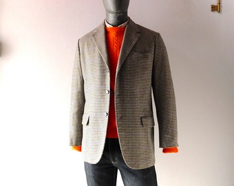 Vintage Mens Cashmere Plaid Blazer - Size 40 41 S Hong Kong Arts Custom Tailored Classic Don Draper Roger Sterling Style 1950s 1960s Jacket