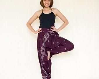 All Around The World...Printed Rayon Harem Pants Dark Purple
