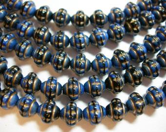 31 6x7mm Czech Glass Blue Silk with Gold Saturn Saucer Beads