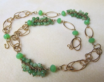 Beautiful Jade Cluster beads Long chain link necklace 27 inches long watercolorsNmore