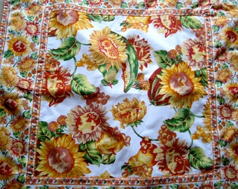 April Cornell Tablecloth Country French in Sunflowers red yellow green and gold