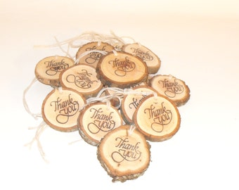 Thank you tags, Rustic wood slice hanging tags,  Wood slice thank you charms, Gift thank you hanging tags, Gift emblelishment