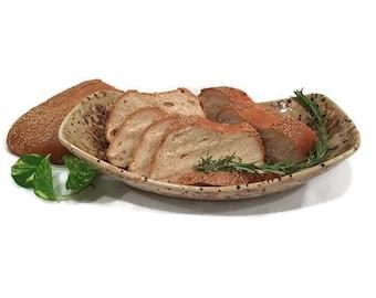 Bread Bowl / Serving Bowl in Earth Tones - Tan Black Rust