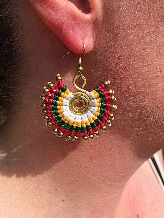 Handcrafted Brass Bead Waxed Neon Cotton Spiral Ethnic Bohemian Summer Tribal Earrings