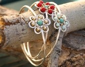 Cherry Blossom Bangles in Red, Aqua and Gold