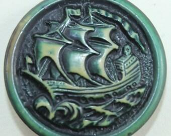 1940's Green Plastic Galleon Ship Button