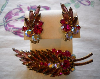 Vintage Juliana Pin and Earrings Set Pink Purple D&E Demi Parure FREE SHIPPING