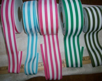 3 yds.of vintage millinery ribbon in a various shades stripe yardage