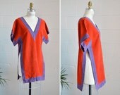 Vintage 1960s two-tone LEATHER tunic