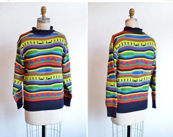 50% OFF SALE / Vintage 1980s STATEMENT wool sweater