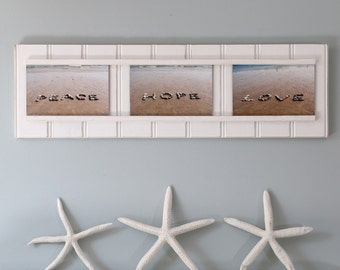Peace Hope Love, Beach Stone Words, Framed Beach Décor, positive sentiment, motivating, coastal art, beach photography, cottage chic, rocks
