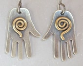 Silver Brass Spiral Hand Charm Earrings