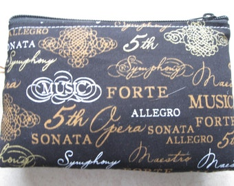 padded makeup jewelry bag music words print
