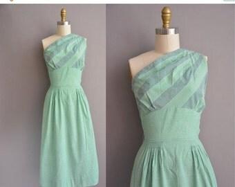 25% off SHOP SALE... 50s green stripe cotton one shoulder vintage dress / vintage 1950s dress