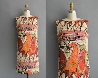 vintage 1960s dress / 60s rare Trojan horse print vintage dress