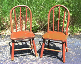 Set of 2 Antique Vintage Child childrens Red Solid Wood Distressed Chairs Super Cute