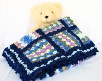 Crochet afghan granny square scrap yarn throw lap blanket navy border ripple brown grey blue white green purple blocks wavy lacy home decor