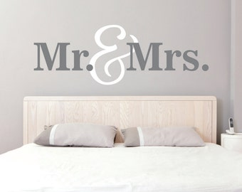 Mr. & Mrs. Wall Decals - mr mrs wall decal - mr. and mrs. vinyl wall decal - bedroom wall decal