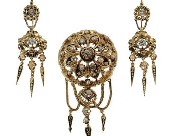 Summer Sale Victorian gold and diamond brooch and earrings matching set parure from France circa 1850