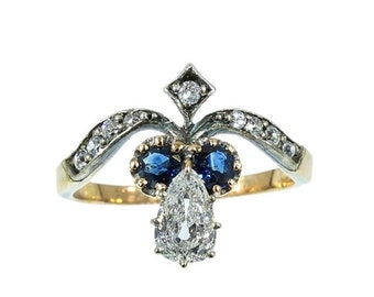 Summer Sale Antique Diamond Ring pear shape diamond sapphire rose gold Victorian ring circa 1870 for sale