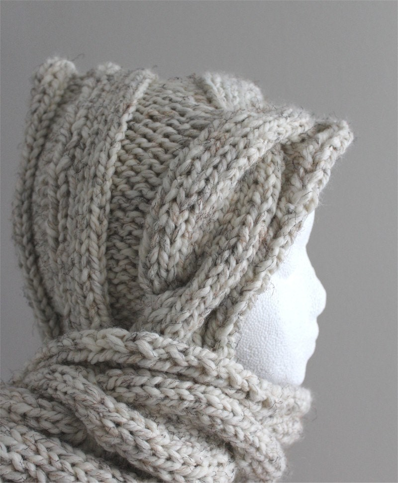 Hooded Infinity Scarf Knitting Pattern : KNITTING PATTERN Cable Hooded Scarf PDF knitting pattern