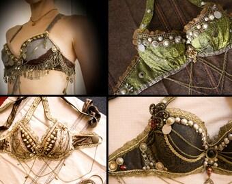 CUSTOM MADE Tribal Fusion Bellydance Bra - Custom Tribal, Medieval Rennaisance Festival ATS costume top bra