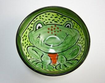 Ceramic Cereal Bowl - Green Frog - Pottery Bowl - Clay Bowl - Majolica - Small Serving Bowl - Animal Bowl - Amphibian - Folk Art