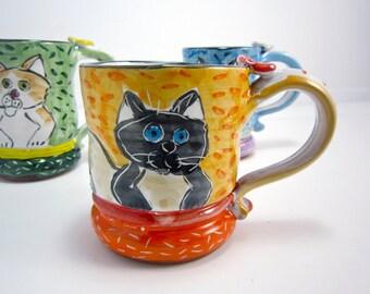 Ceramic Coffee Mug Siamese Cat Cream and Grey Gray 12 ounces Pottery Clay Majolica on Orange