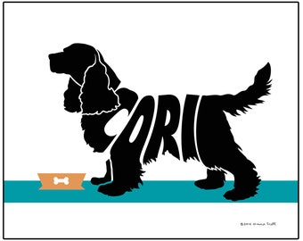 Personalized Cocker Spaniel Art Print, Custom Spaniel Dog Name Art, Dog Lover's Gift, Dog Memorial Gift