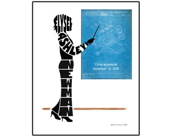 Personalized Female Mechanical Engineer Silhouette Print, 8x10 Name Art, Gift for Mechanical Engineer