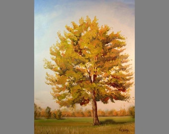 Landscape Oil Painting ~ Autumn colors ~ Digital download print of a tree portrait painted in oils.